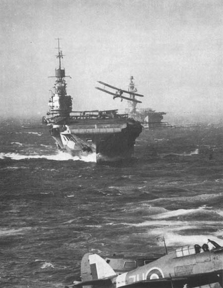 HMS Eagle and Indomnitable in Convoy in the Med